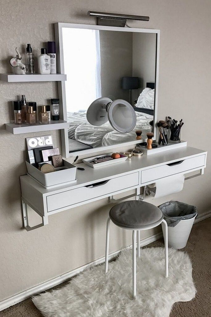 15 Makeup Vanity Table Designs To Decorate Your Home 8 Home Designs In 2021 Small Bedroom Decor Bedroom Makeup Vanity Wall Mounted Dressing Table