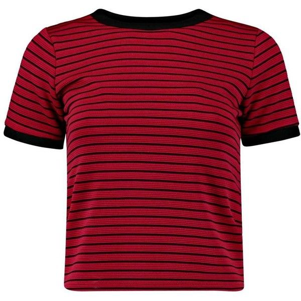 Boohoo Emma Ribbed Contrast Ringed Tee ($16) ❤ liked on Polyvore featuring tops, t-shirts, shirts, tees, long sleeve shirts, tee-shirt, long sleeve tees, red shirt and crewneck shirts