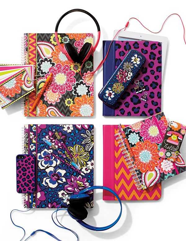 Vera Bradley Fall 2014: Tablet Case with Stand in Leopard Spots and Ziggy Zinnia, Notebook with Pocket in African Violet and Ziggy Zinnia, Study Buddy in Ziggy Zinnia, Soft Frame Case for iPhone 5 in Leopard Spots, Whimsy Snap On Case for iPhone 5 in Ziggy Zinnia. #BrightestYearEver