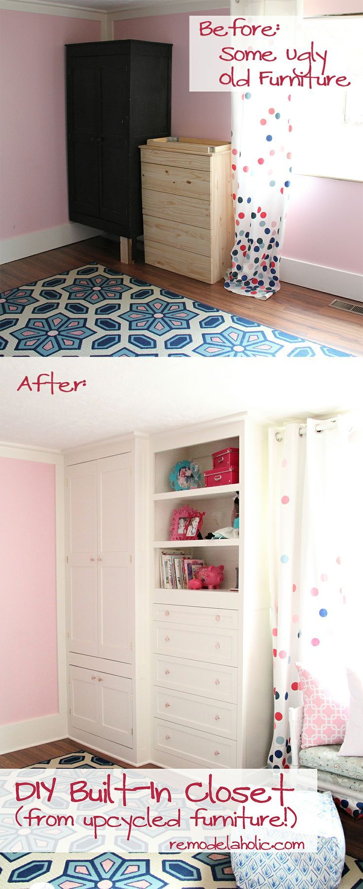 From old furniture to built in closet. Check out the great tutorial @Remodelaholic