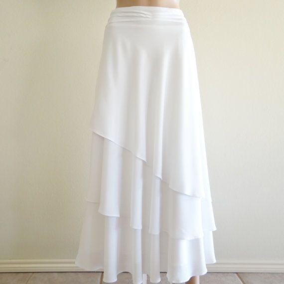 White Long Skirt.Maxi Skirt.Evening Skirt.Party Skirt.Chiffon Skirt