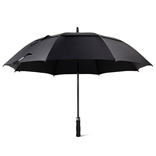 Golf Umbrella, Large Windproof Umbrella for Men, 62'' Wind Resistant Umbrella Auto Open Rain Umbrella Black Extra Large for Women, Double Canopy Oversized Stick Umbrella with Cover - WHY TOMOUNT WINDPROOF GOLF UMBRELLA? 2 Times larger than normal umbrella 62 inches super large umbrella covers three or more person, and always keep your feet dry. Double canopy design releases wind, and with this windproof golf umbrella, you would never be blown away. Half weight of steel ribs w...