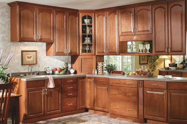 White kitchen traditional metro magic oak cathedral for Cathedral kitchen cabinets