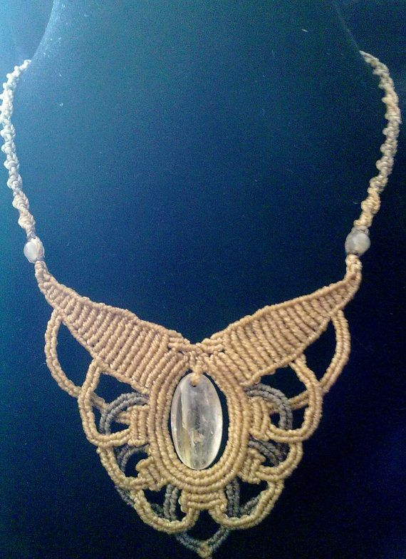 Rutilated quartz stone macrame necklace by ARTRAVEL on Etsy, $73.00
