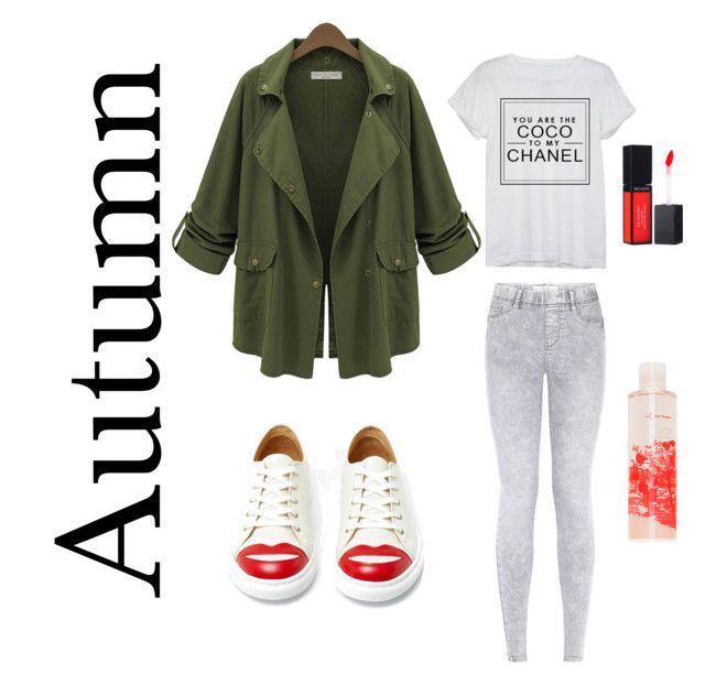"""Autumn Mix & Match"" by doubleblonded on Polyvore featuring Chanel, Charlotte Olympia, Revlon and red flower"