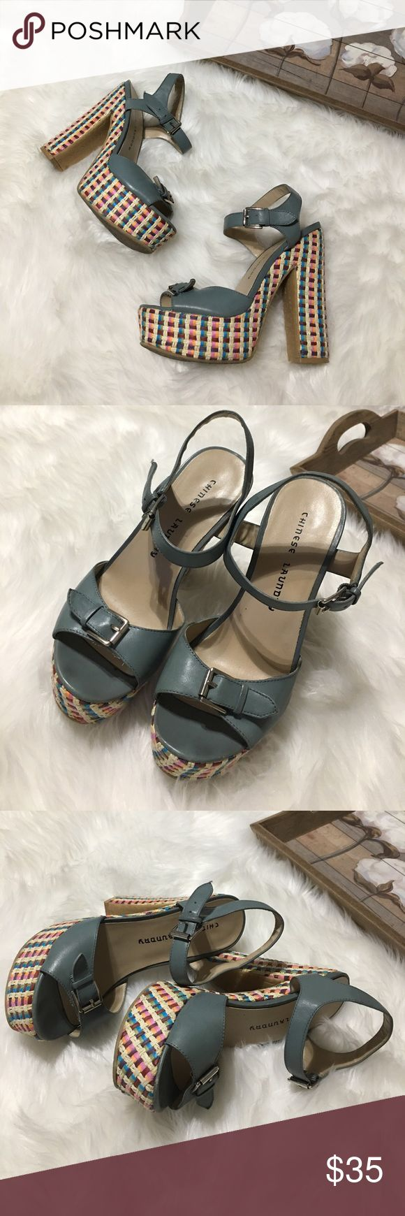 Chinese Laundry Blue Woven Platform Heels Sz 7.5 Super chic and stylish Chinese Laundry Woven detail platform heels size 7.5 in excellent gently worn condition. Perfect for all occasions. Stunning on! Chinese Laundry Shoes Platforms