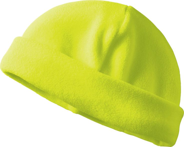 HI-VIZ POLYESTER FLEECE TOQUE - 447002. Provides high daytime visibility and extra protection from the elements. Wide fold up band is ideal for decorating by printing or embroidery. For ordering info contact: www.Fivetwentyfour.ca