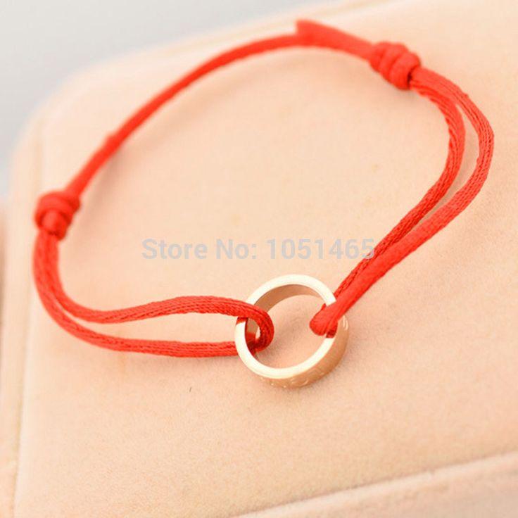 Звезда благотворительность браслет классический круг красный канат черные веревки дополнительно титана стали ювелирные изделия для мужчин и женщин любителей браслет