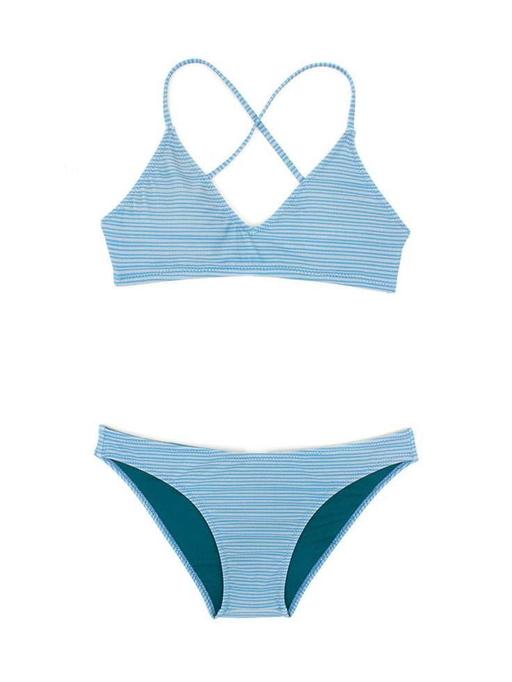 This cute, sporty bikini is perfect for paddling, duck diving, dropping in, and hanging ten. - Made in the USA - Crisscross tie back closure - Medium Coverage - Body: 80% Nylon, 20% Elastic - Liner: 9