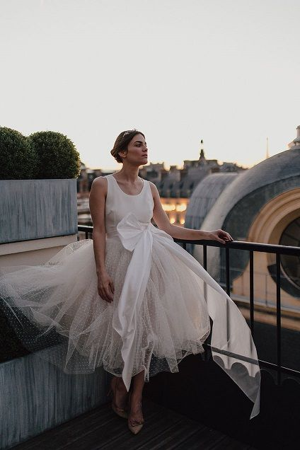 From the Collection To Marry for, Bohème Rock by david Purves: Adèle, tea-lenght wedding gown, tank top, tulle petticoat and satin knotted belt.  Wedding gown Bohème Rock by david Purves and photos by You Made my Day Photography