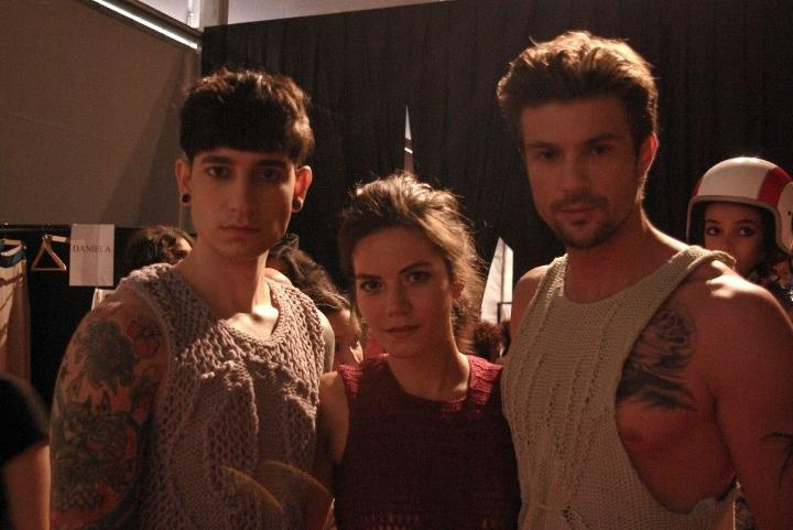 backstage of IFW 12 fashion show me with models- 2 ters 1duz menswear by ipek arnas
