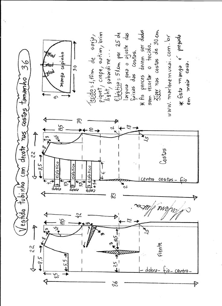 Patrón de vestido tubo de cóctel con escote en la espalda. Tallas desde 36 hasta 56.