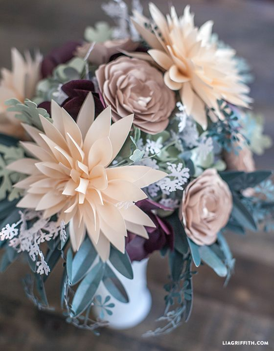 DIY Rustic Paper Flower bridal bouquet @LiaGriffith.com