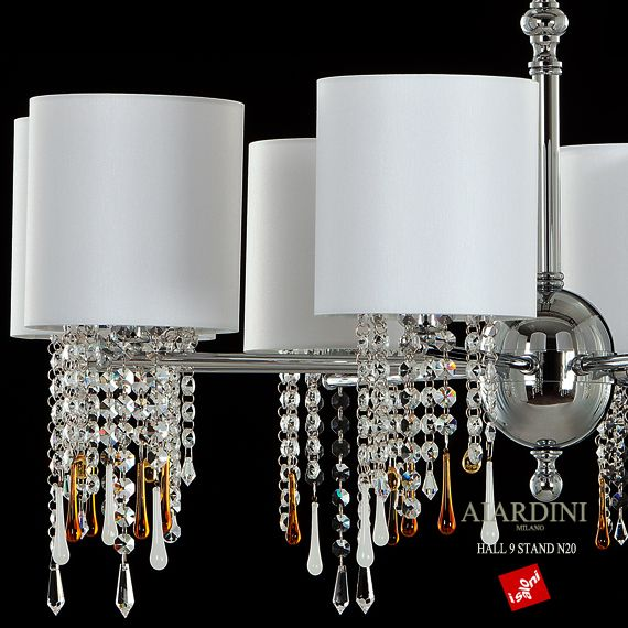new model #modern_chandelier Glamour available from 3 to 24 lights. Crystal Swarovsky and original murano glass drops. Available in polished or satined gold, satined nikel, polished crome, bronze. Contact us by mail for further informations: info@aiardini.it