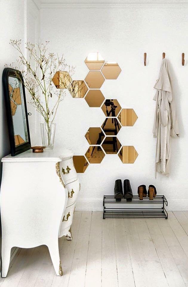 hexagonal mirror decals