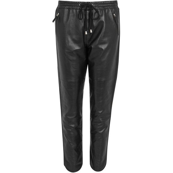 DONNA IDA Ginger Black Leather Jogging Trousers - Size L (€665) ❤ liked on Polyvore featuring pants, jogger pants, leather zipper pants, cropped trousers, real leather pants and leather jogging pants