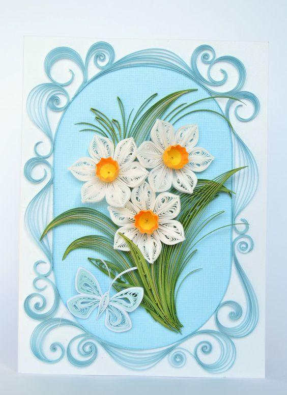 Цветы в технике квиллинг открытка