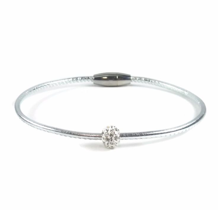 Silver Leather Anklet with Crystal Rhinestone