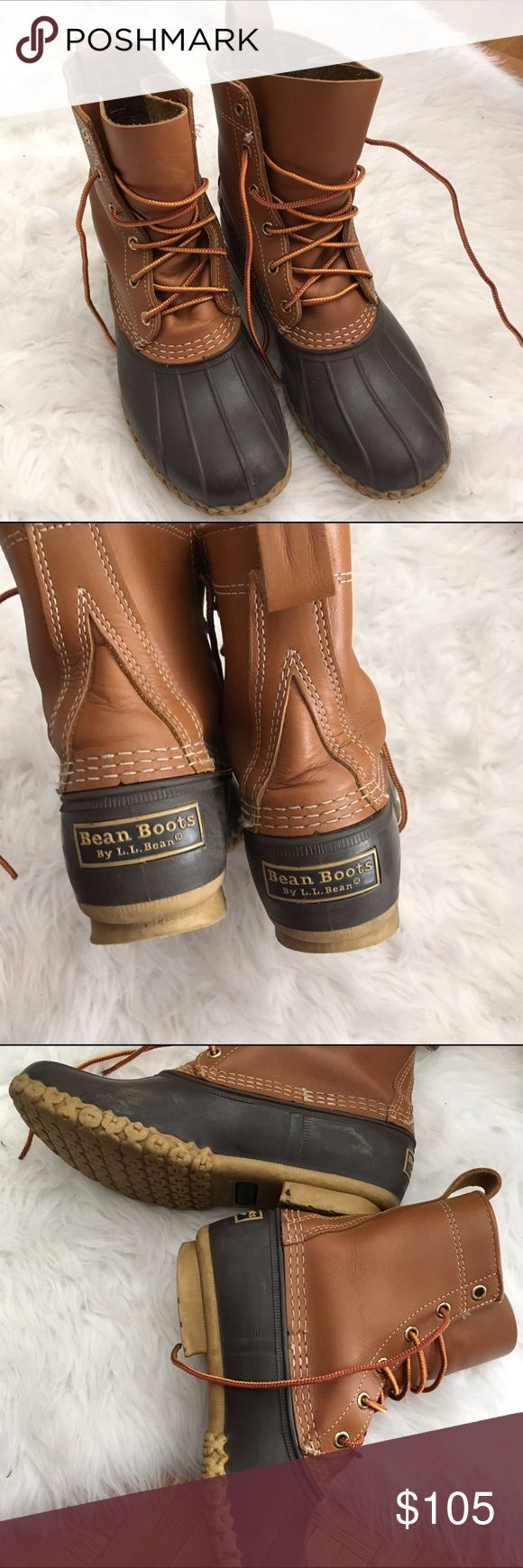 LL Bean Duck Boots Size 7 These are l.l. Bean boots in good condition. There is some scuffing on the inner sides as pictured. Would best suit a size 7.5 or 8 since they run large. These are the 8 inch versions. L.L. Bean Shoes Winter & Rain Boots
