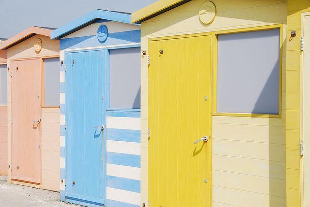 beach huts, nice pastels