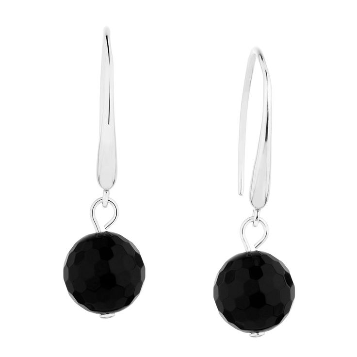 Drop Earrings with Onyx in Sterling Silver
