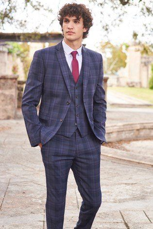 e8370bd9b40d Stand proud in these blue skinny-fit check suit trousers. The check pattern  and