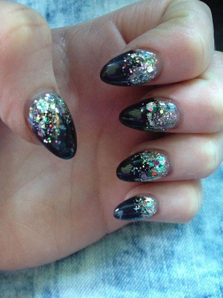 Pointy And Posh Top 65 Amazing Stiletto Nails: Black Glitter Short Stiletto Pointy Nails