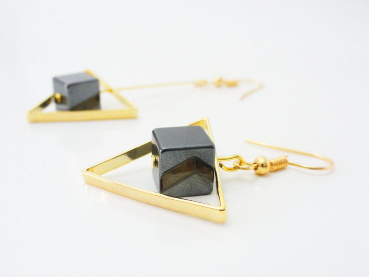 Missmatched Geometric Earrings, Triangle Mismatched Earrings, Hematite Stone Earrings, Missmatched Earring Set, Cube Stone Drop, EMAN48 by PrettyMaNa on Etsy