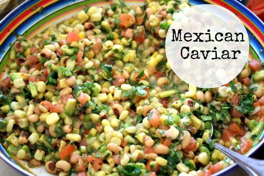 1 bunch Cilantro (chopped)  1 bunch Green Onions (chopped)  2 Tomatoes (chopped)  2 Avocados (chopped)  1 can black-eyed peas, undrained  1 small bag of frozen corn (thawed)  1 envelope Good Seasons Italian Dressing  1/4 Cup Vinegar  Mix it all together  Add some Lime juice and a diced Jalapeno