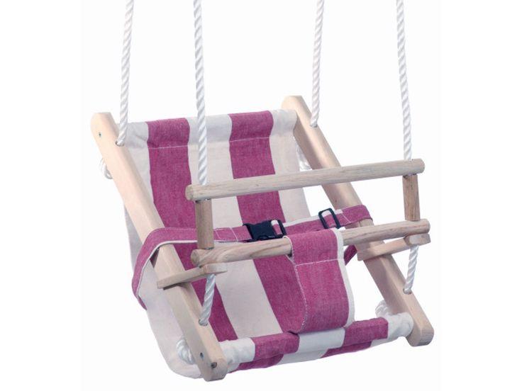 Schneller Versand ✓ 30 Tage Rückgaberecht ✓ Holzschaukel - Stoffbespannung 100% Baumwolle, PP-Seile, verzinkte Aufhängung. Sicherheitsgurt. Für Kinder von 1 - 3 Jahre. Belastbar bis 30 kg., 30 x 35 cm