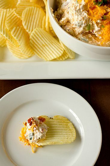 Loaded Baked Potato Dip. Really does taste like a loaded baked potato! It's a really chunky dip, ended up being easier to serve on crackers like a cheese ball. Besides crumbling the bacon and cutting up chives, another super easy recipe to fix. Great easy party dip recipe.