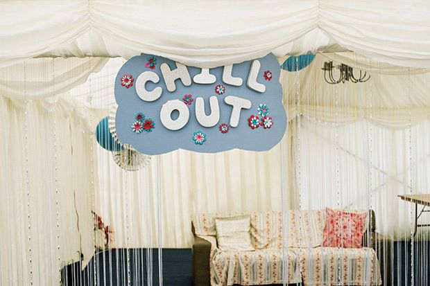 """Adorable """"Chill Out"""" station for guests with conversation furniture 