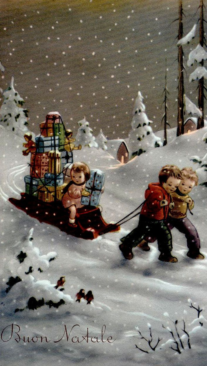 Vintage Christmas Card: Boys pulling little girl on sled full of gifts