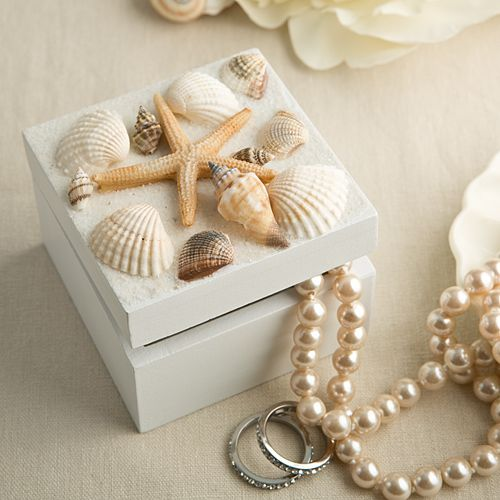 Sea Shell Themed Trinket Box W Natural Shells Wedding Beachseashell