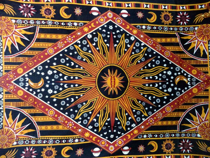 Wall Art – Mandala Tapestry Sun Moon and Stars Wall Hangings – a unique product by IndianCraftPalace on DaWanda