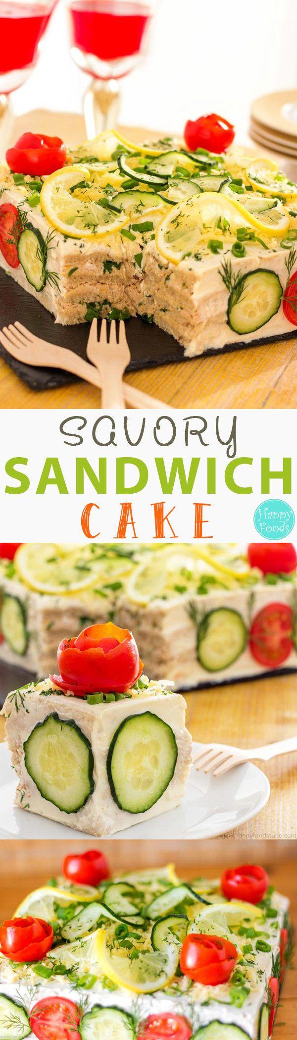 Savory Tuna Sandwich Cake (Smörgåstårta) - Swedish Sandwich Cake, Scandinavian Sandwich Cake, Savory Cake, Smorgastarta, Easy Sandwich Cake, Not Sweet Cake, Sandwich Cake Recipe, Smörgåstårta Recipe, Party Sandwich Ideas | happyfoodstube.com