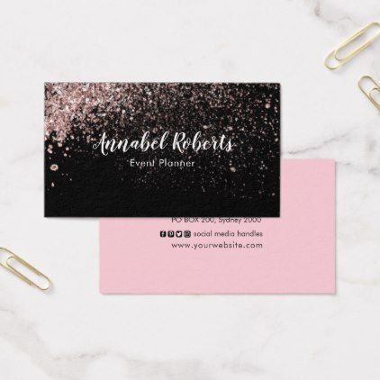 Black and pink glitter business card glitter pinterest black and pink glitter business card glitter glamour brilliance sparkle design idea diy elegant colourmoves