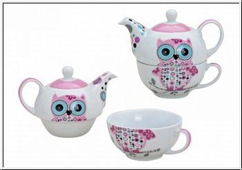 Strickparadies - Teekannen - Set mit Eulen-Dekor Porzellan