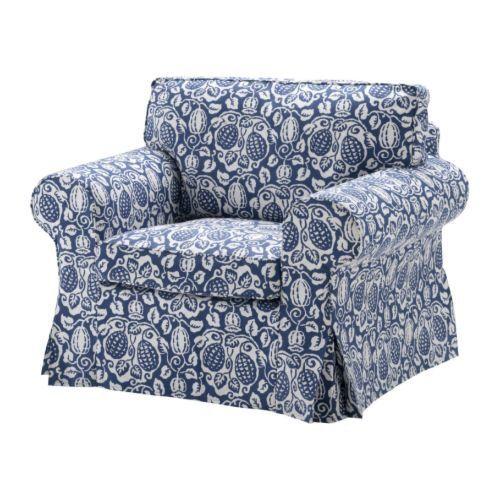 Ikea Ektorp Armchair Cover Klintbo Blue Slipcover Floral Bezug