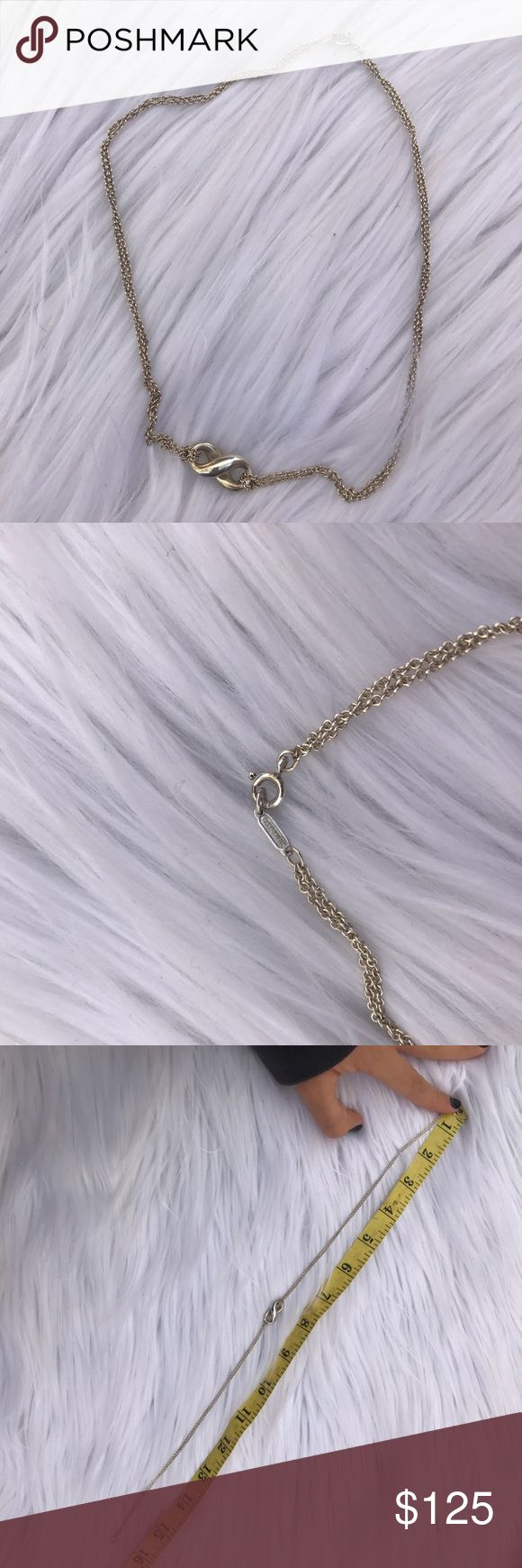 "TIFFANY & CO INFINITY NECKLACE SILVER 925 16.5"" 100% authentic Tiffany infinity double necklace Tiffany & Co. Jewelry Necklaces"