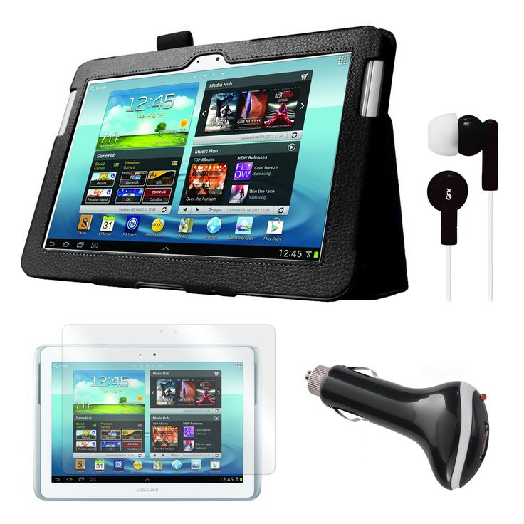 "Mgear Accessories Black Folio Case with Earphones, Screen Protector, and Car Charger for Samsung Galaxy Note 10.1"" Tablet"