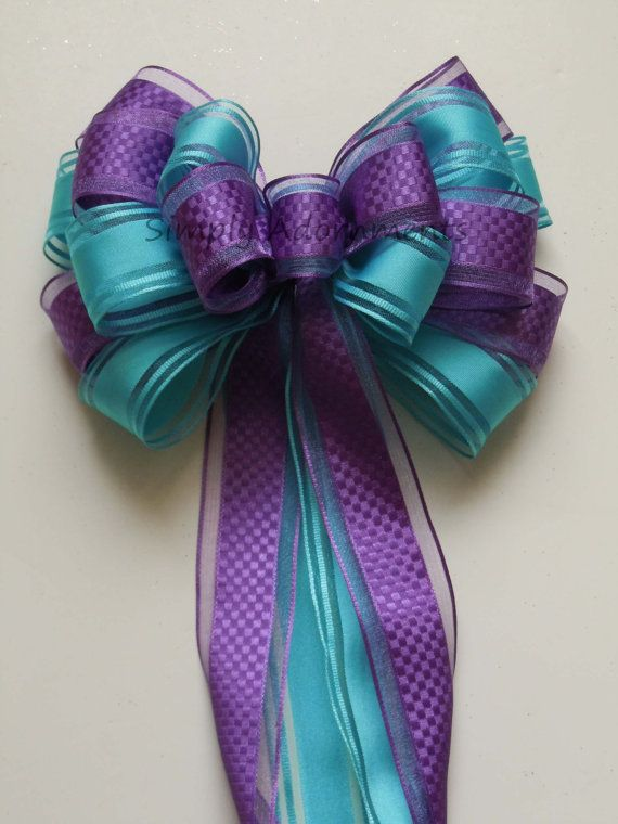 Purple Blue Peacock Wedding Pew Bow Aqua Blue Orchid Party Decoration Bow Wedding Chair Bow Bridal Shower Decoration Bows Large Gift Bows on Etsy, $9.00