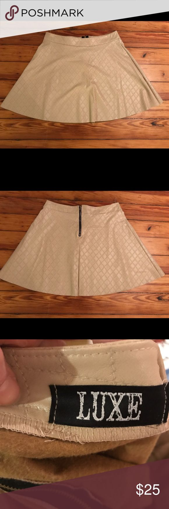 EUC Faux Leather Skater Skirt Worn once, light camel-colored skirt. Mini fit with zipper back. True to size. Purchased from a local boutique - brand is Luxe. Luxe Skirts Circle & Skater