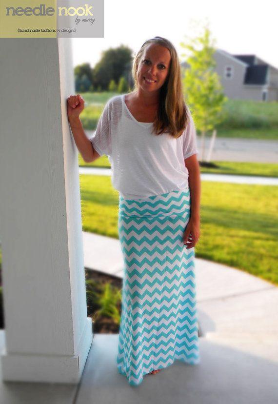 The Chevron Maxi Skirt -- Women's Maxi Skirt -- Jersey Cotton Knit Skirt -- You Chose the Color