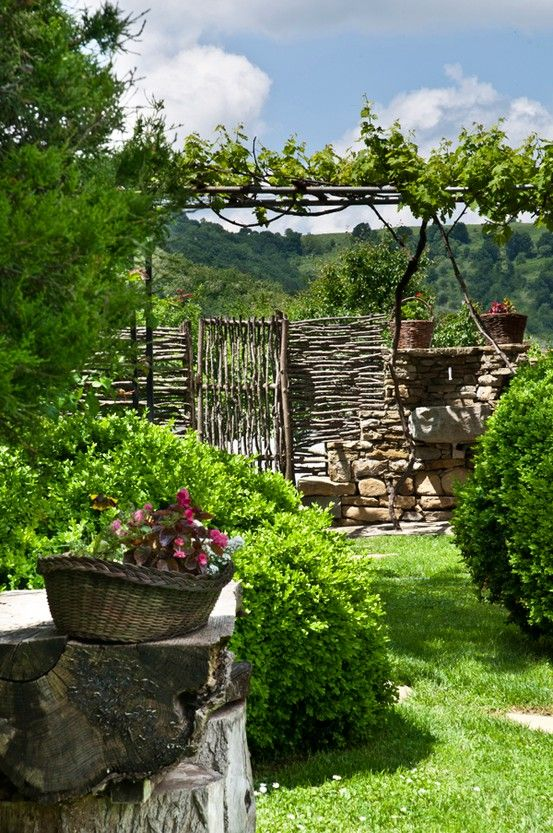 wow, love this fence and gate surrounded by all this beauty!  + a grape arbor?