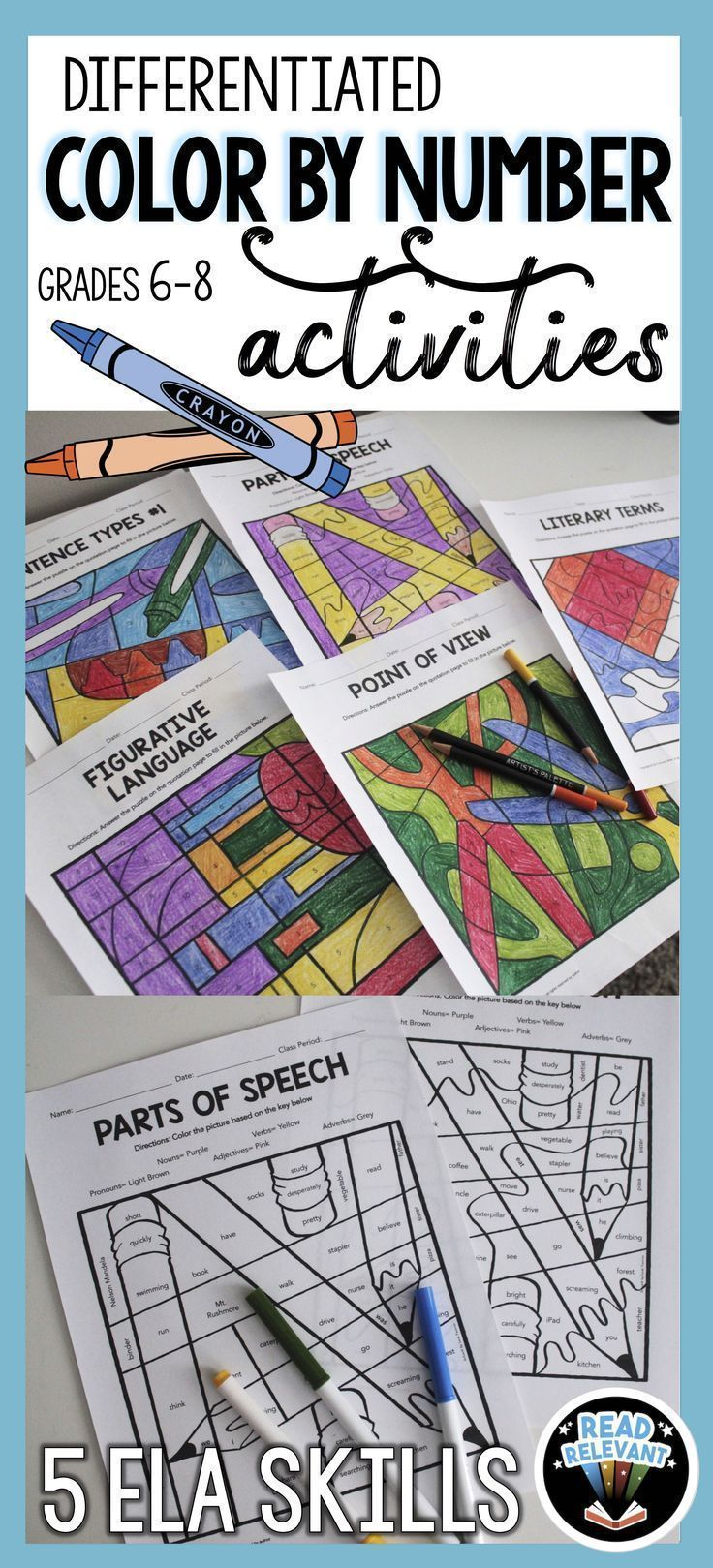 These fun color by number puzzles are great for reinforcing and reviewing the ELA skills of parts of speech, figurative language, point of view, literary terms, and sentence types. Great activities for ELA grades 6-8.