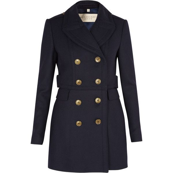 Burberry Brit Navy Fitted Peacoat and other apparel, accessories and trends. Browse and shop related looks.