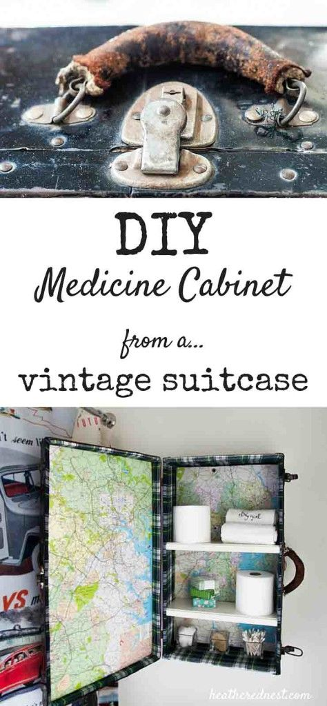 """DIY Medicine Cabinet from a Vintage Suitcase. AKA """"Everybody's Got Baggage"""""""