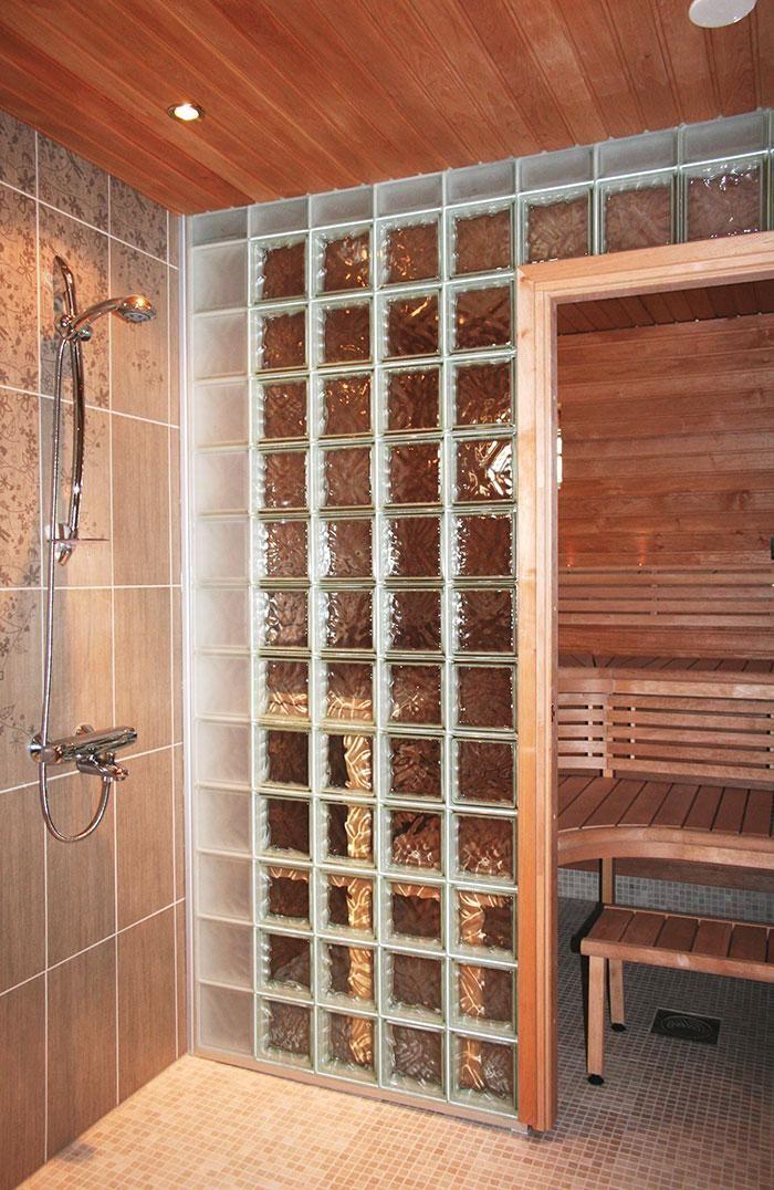 Väliseinä, sauna, lasitiili, Vitrea Oy