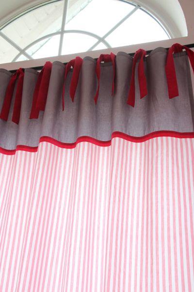 Vorhang Kinderzimmer Dawanda : Vorhang,+Streifen+rosagrau+140+x+250+cm+von+marumaru++Kinder(t